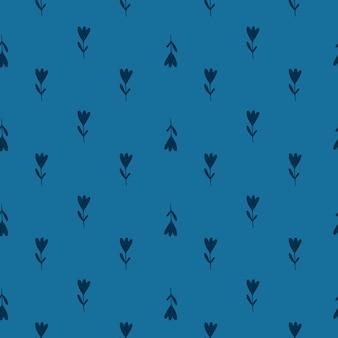Modèle de doodle sans soudure de petites fleurs de tulipe. fond bleu marine. oeuvre florale abstraite. illustration vectorielle pour les impressions textiles saisonnières, les tissus, les bannières, les arrière-plans et les fonds d'écran.