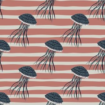 Modèle de doodle transparente de silhouettes de méduses pâles sombres.