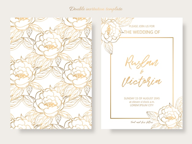 Modèle double invitation de mariage avec des éléments décoratifs dorés