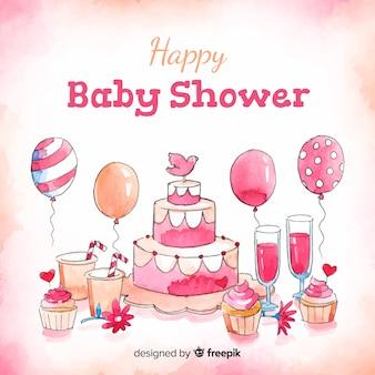 Modèle de douche de bébé aquarelle mignon