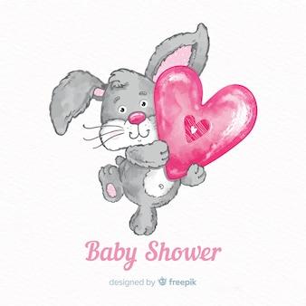 Modèle de douche de bébé aquarelle