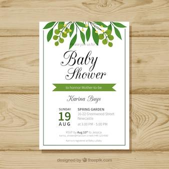 Modèle de douche de bébé avec des feuilles