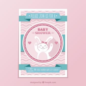 Modèle de douche de bébé avec lapin
