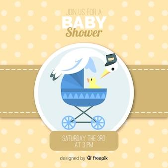 Modèle de douche de bébé mignon avec du poulet