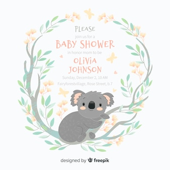 Modèle de douche de bébé mignon avec koala