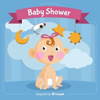 Modèle de douche de bébé mignon