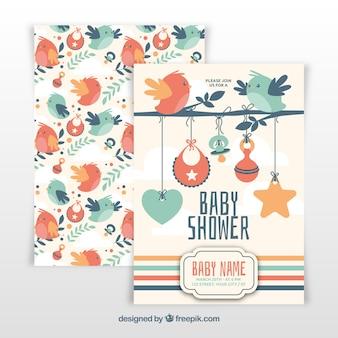 Modèle de douche de bébé avec des oiseaux