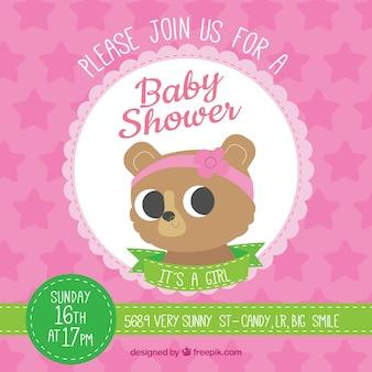 Modèle de douche de bébé avec teddy