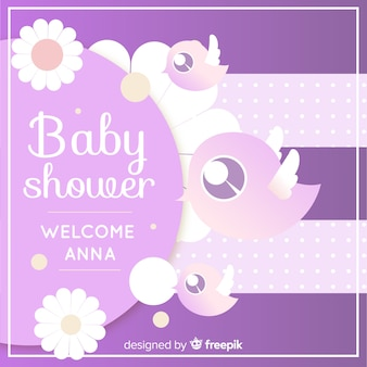 Modèle de douche de bébé violet mignon