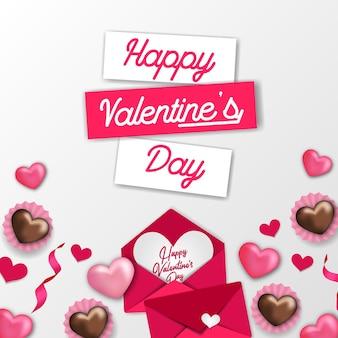 Modèle doux de bonne saint-valentin avec décoration de coeur d'amour rose et enveloppe de lettre d'amour et chocolat avec fond blanc