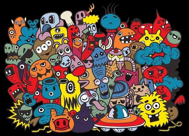 Modèle drôle de monstres pour cahier de coloriage