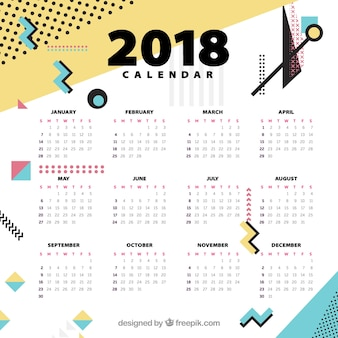 Modèle du calendrier 2018