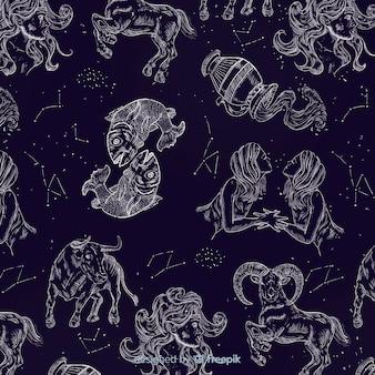 Modèle du zodiaque réaliste dessiné à la main