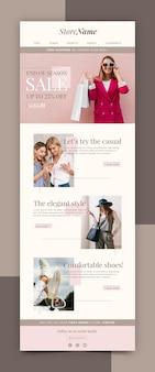 Modèle d'e-mail de commerce électronique créatif avec photo
