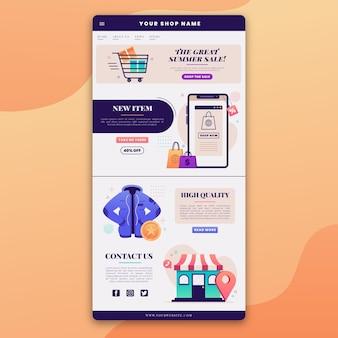 Modèle d'e-mail de commerce électronique avec illustrations