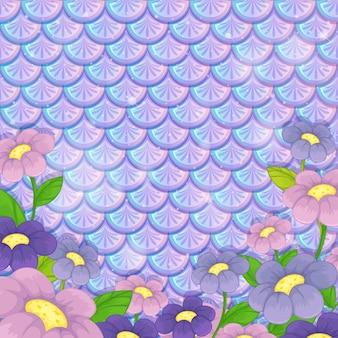 Modèle d'écailles pastel violet avec beaucoup de fleurs