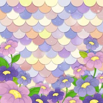 Modèle d'échelle de sirène pastel avec beaucoup de fleurs