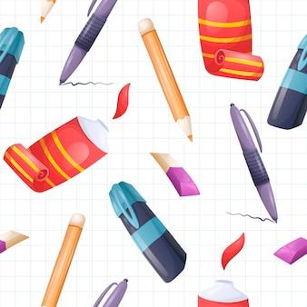 Modèle d'école de dessin animé sans soudure de vecteur. papeterie et accessoires sur fond d'une feuille de cahier en cage bleue.