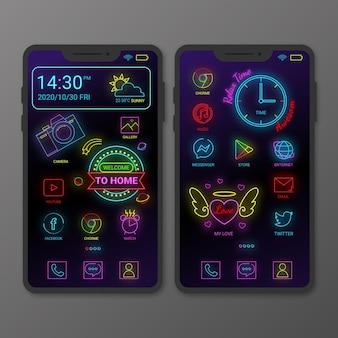 Modèle d'écran d'accueil au néon pour smartphone