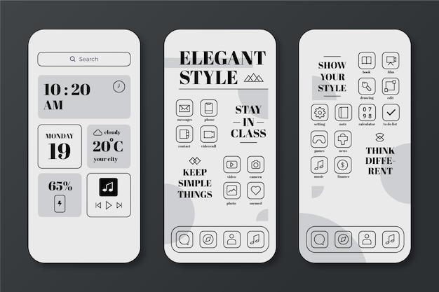 Modèle d'écran d'accueil élégant pour smartphone