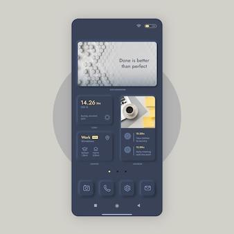 Modèle d'écran d'accueil neumorph pour smartphone