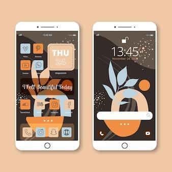 Modèle d'écran d'accueil organique pour smartphone