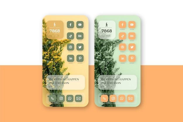 Modèle d'écran d'accueil pastel pour smartphone