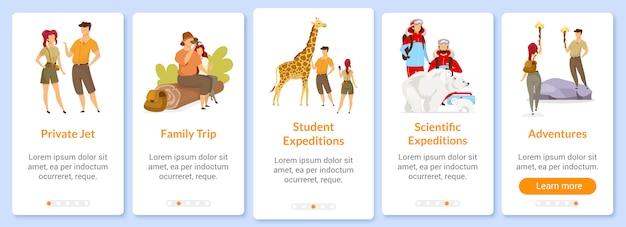 Modèle d'écran d'application mobile d'intégration à l'aventure. expédition et exploration. voyage. procédure pas à pas du site web avec des personnages. ux, ui, gui smartphone concept d'interface de dessin animé