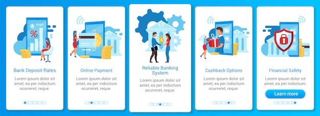 Modèle d'écran d'application mobile d'intégration bancaire. taux de dépôt, paiement en ligne, sécurité financière. étapes du site web pas à pas avec des caractères plats. ux, ui, gui smartphone concept d'interface de dessin animé