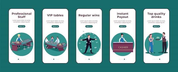 Modèle d'écran de l'application mobile d'intégration de casino. personnel professionnel. victoires régulières. procédure pas à pas du site web avec des caractères sur blanc. ux, ui, interface de dessin animé pour smartphone gui