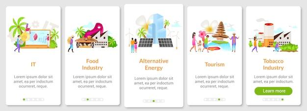 Modèle d'écran d'application mobile d'intégration des entreprises indonésiennes. alimentation, industrie du tabac. tourisme. procédure pas à pas du site web avec des personnages. ux, ui, gui smartphone concept d'interface de dessin animé