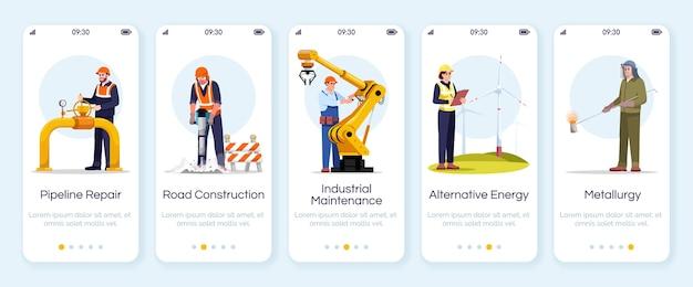 Modèle d'écran d'application mobile d'intégration des ingénieurs. réparation de pipeline, construction de routes. travailleurs industriels. procédure pas à pas du site web avec des personnages. dessin animé de smartphone ux, ui, gui