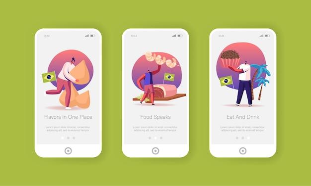 Modèle d'écran à bord de la page d'application mobile de nourriture traditionnelle du brésil.
