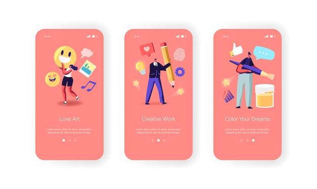 Modèle d'écran intégré de la page de l'application mobile art platform