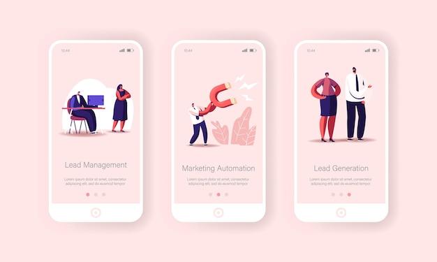 Modèle d'écran intégré de la page d'application mobile de gestion des prospects