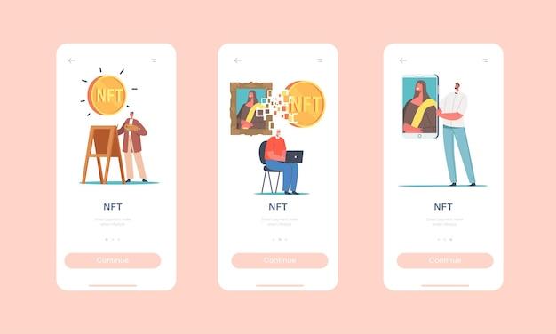 Modèle d'écran intégré de la page de l'application mobile nft. les personnages utilisent la crypto-monnaie, effectuent des transactions numériques pour acheter des chefs-d'œuvre et des arts, concept de jeton non fongible. illustration vectorielle de gens de dessin animé