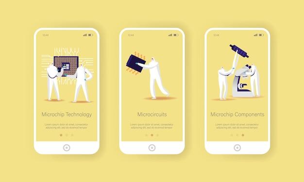 Modèle d'écran intégré de la page de l'application mobile pour la fabrication de micropuces et de semi-conducteurs