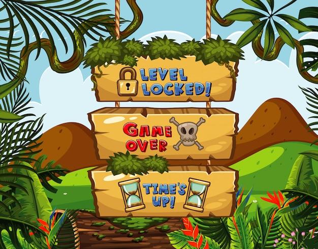 Modèle d'écran de jeu avec thème jungle