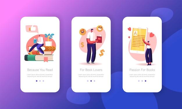 Modèle d'écran de page d'application mobile de lecture et d'étude des personnages