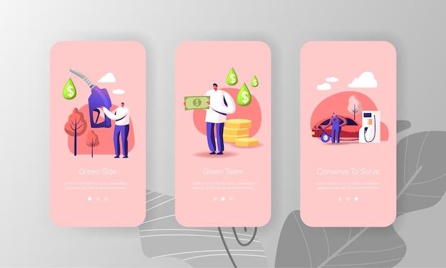 Modèle d'écran de la page de l'application mobile petrol economy.