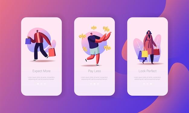 Modèle d'écran de page d'application mobile de vente saisonnière