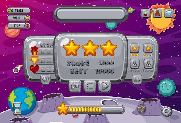 Modèle d'écran pour jeu d'ordinateur avec thème spatial