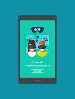 Modèle d'écran de téléphone portable avec illustration d'éléments de réalité virtuelle de style plat