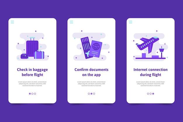 Modèle d'écrans d'application d'intégration de voyage
