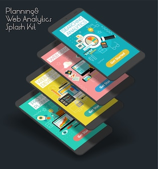 Modèle d'écrans de démarrage d'application mobile de conception plate, de planification de projet, d'analyse de recherche et de développement web avec des illustrations à la mode et un smartphone 3d