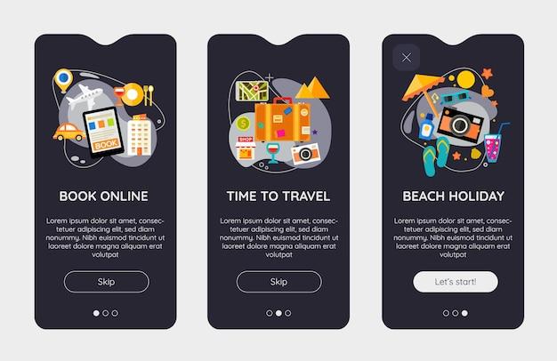 Modèle d'écrans de démarrage d'application mobile time to travel ui de conception plate avec des illustrations à la mode