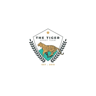 Modèle éditorial de logo de sport