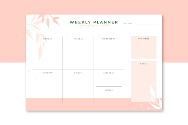 Modèle éditorial de planificateur hebdomadaire