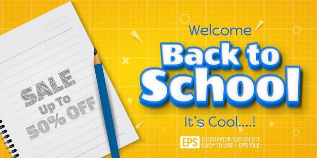 Modèle d'effet de style modifiable de bannière de texte 3d de retour à l'école