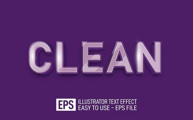 Modèle d'effet de style modifiable de texte 3d en verre propre